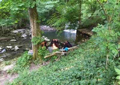Klingenmuehle Potenzial entfalten Wochenendseminar Feuer am Wasserfall